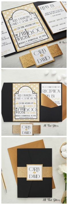 Our Gatsby wedding invitation is the bee's knees! We paired our art-deco pattern with Black pocketfolds, antique gold envelopes and gold glitter to create this AMAZING black & gold wedding suite. The Great Gatsby is the GO TO wedding theme for 2017 & 2018!