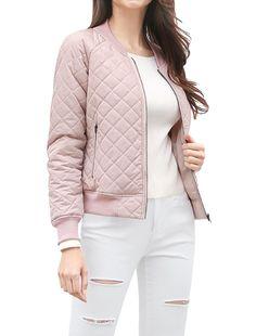 d0d054f41c07 Women s Raglan Sleeves Quilted Zip Up Bomber Jacket - Pink - C412NADUGQD