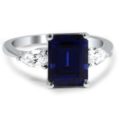 Sapphire and Pear Diamond Three Stone Ring