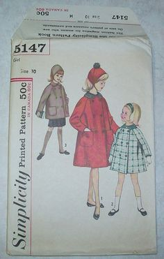 Simplicity 5147 Hat and Coat #Vintage #Sewing #Pattern   I made Lor a navy with red collar cape when she was 10