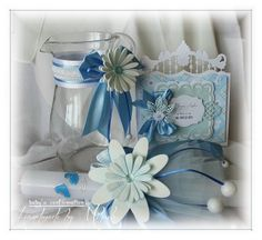 Candle, vase for Holy Water and invitation for baby confirmation Marianne Design, Confirmation, Holi, Paper Crafts, Invitations, Wreaths, Candles, Handmade, Baby