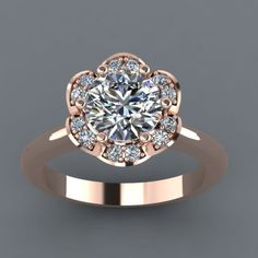 Rose Gold Engagement Ring with Moissanite stones  Find More : http://www.iamaddictedtoyou.com/