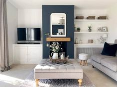 Alcove Ideas Living Room, Living Room Built Ins, Home Living Room, Living Room Decor, Dining Room, Wall Units With Fireplace, Fireplace Beam, Fireplace Mantels, Unused Fireplace