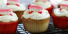 These red jam-filled cupcakes let kids feel like Dracula with every bite. The icing hardens into a white chocolate cap on each cupcake.  Courtesy of Jennifer Low