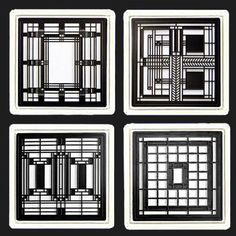 Frank Lloyd Wright Metal Insert Coaster Gift Set 3