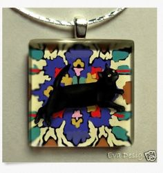 BLACK CAT ORIENTAL RUG JEWELRY ART GIFT NECKLACE GLASS TILE PENDANT WITH CHAIN in Collectibles | eBay