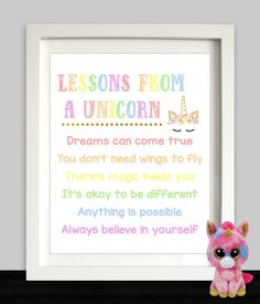 Rainbow Unicorn Party // Unicorn Party Sign // Unicorn Birthday // Unicorn Art Print // Lessons From A Unicorn // Unicorn Printable - Rainbow Diy Unicorn Birthday Party, Rainbow Unicorn Party, Rainbow Birthday Party, Birthday Party Games, Unicorn Birthday Parties, First Birthday Parties, Birthday Party Decorations, First Birthdays, 5th Birthday