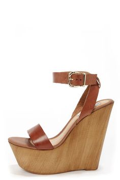 ee064451fa6 Steve Madden Beachy Cognac Leather Wooden Platform Wedge Sandals