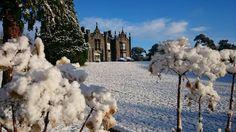 Snow in a  vintage castle on the wild Atlantic way
