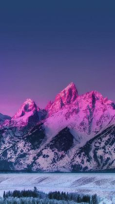 Pink Mountain Blue Sunset Nature iPhone Wallpaper - iPhone Wallpapers