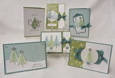 Morning Everyone, We will be using the Festival of Trees Stamp Set and matching Punch for this week's Stamp Class. I used the All is Calm Paper for my inspiration for the colour combination of Lost La