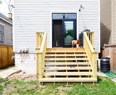 Outdoor Deck Ideas – As soon as you finished design the interior of the house, you will start planning the layout of house outside area. Outdoor deck idea is one . Backyard Plan, Backyard Patio, Backyard Landscaping, Yellow Brick Houses, French Doors With Screens, Patio Stairs, Swimming Pool Decks, Backyard Projects, House Projects
