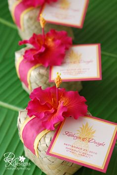 Love this Hibuscus flower wedding favor!