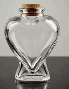 """Heart Bottles Clear Glass with Cork Tops 4-1/4"""" (6 bottles) 6 for $3.72 / $.62 each"""
