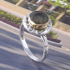 925 SOLID STERLING SILVER FANCY LABRADORITE STONE RING 3.95g DJR3373 #Handmade #Ring