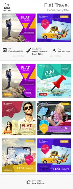 Flat Travel banner — Photoshop PSD #agency #vacation • Available here → https://graphicriver.net/item/flat-travel-banner/12454662?ref=pxcr