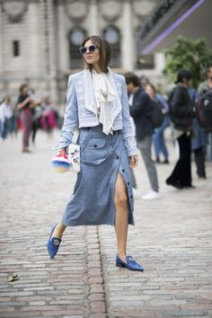 Learn how to pull off a skirt in the winter   outfit ideas via @STYLECASTER \ denim midi skirt