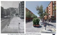 Av. d'Isabel la Católica, Plaça Eivissa, año 1975 y en la actualidad