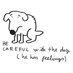be careful with the dog (he has feelings)