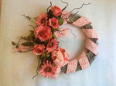 Three season wreath grapevine wreath with coral roses rose