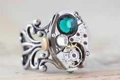 Gorgeous steampunk ring by inspiredbyelizabeth