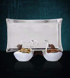 Tray with 2 Swans - A resplendent serving dish for all occasions. Wedding Gifts Online, Online Gifts, Wedding Shopping, Wedding Store, Gift Suggestions, Gift Ideas, Marriage Gifts, Diwali Gifts, Silver Trays