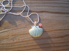 Aqua Colored Enamel Shell Pendant Necklace by tlw1212 on Etsy