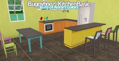 Buggybooz's Kitchen Basic recolored in 29 of Anna's colors. Only the actual…