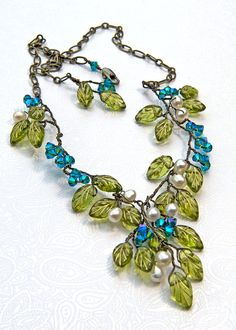 Green and Blue Beaded Necklace Green and by CherylParrottJewelry, $84.95