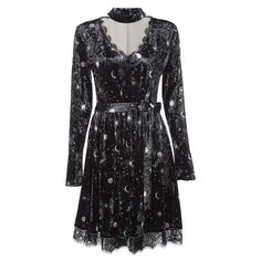 CharMma New Autumn Vintage Velour Dress Women V Neck Long Sleeve Choker Spliced Lace Belted Moon Print Party Dress Vestido Femme-in Dresses from Women's Clothing & Accessories on Aliexpress.com | Alibaba Group