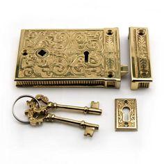 Damask Solid Brass Rim Lock Set - Right Hand - Polished Brass