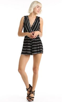 OVERLAPPED FRONT STRIPED ROMPER