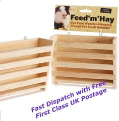 Hay-rack-manger-wooden-feeder-guinea-pig-rabbit-wood-trough-hutch-cage
