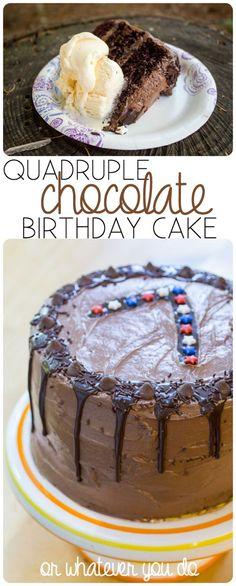 Quadruple Chocolate Birthday Cake for a crowd I www.orwhateveryoudo.com I #cake #recipe #birthday #chocolate