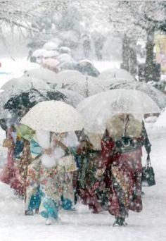 Kimono in the snow ~ Japan
