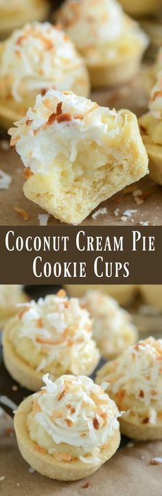 Coconut Cream Pie Cookie Cups - the perfect bite size combination of two classic desserts — coconut cream pie and sugar cookies!