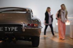 An E-Type Jaguar displayed at the Victoria and Albert museum