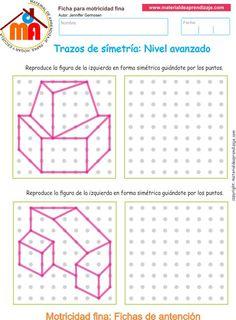 Ejercicio 05 nivel avanzado: Actividades escolares de trazos de simetría para desarrollar la memoria y la atención con los niños.:
