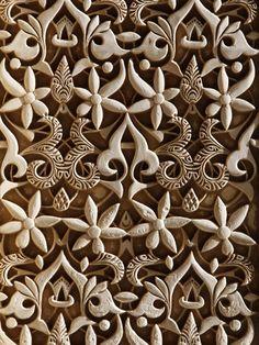 Detail, Nasride Palace Sculptures, Alhambra, UNESCO World Heritage Site, Granada, Andalucia, Spain, Lámina fotográfica