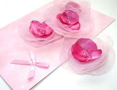 Organza Flower Appliques Handmade Lotus Satin Sew on by LoraDesign, $6.00