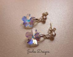 Flower Girl Earrings AB Swarovski Flower Crystal by JewlesDesigns, $19.43