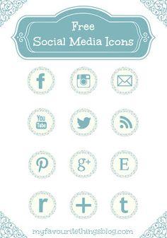 14 Free Blue Floral Social Media Icons via Hopeful Honey Web Design, Blog Design, Graphic Design, Social Media Buttons, Social Icons, Cool Fonts, Blog Tips, Social Media Marketing, Design Elements