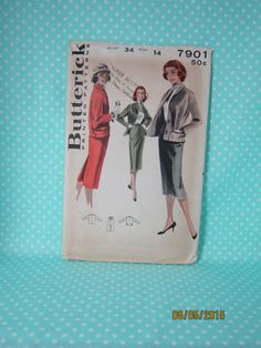 Vintage Suit Pattern. Butterick 7901. 1956. Size 14 B:34. Slim Skirt & Jacket. Cut Complete. Cheap Vintage Pattern. 1950s Vintage. by FashionSew on Etsy