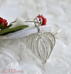 Pure Silver Handmade Filigree Heart Pendant on by NMBeadsJewelry, $47.90