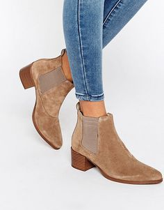 """Emira beige suede ankle boots by Vagabond. Boots by Vagabond, Suede upper, Back tab, Elasticated inserts, Point toe, Mid-height stacked heel, Treat with a leather protector, 100% Suede Upper, Heel height: 5cm/2"""".  #vagabond #shoes #boots"""