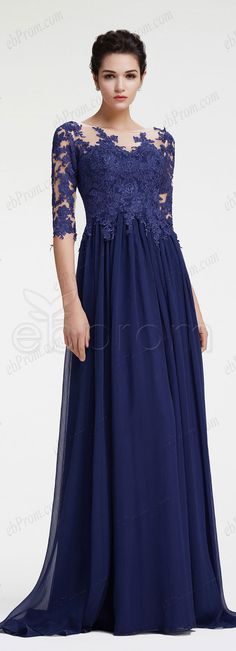 Navy blue mother of the bride dress with sleeves modest mother of the groom dress plus size formal dress