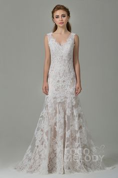 Fabulous Sheath-Column Straps Natural Train Lace Sleeveless Open Back Wedding Dress CWXT14061