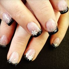 Cool Nail Polish Ideas With Nude Base Black Tips White Glitters And Flower Accents