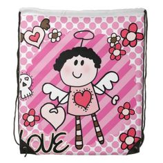 Pretty in pink Angel Love drawstring backpack bag features polka dots and stripes of pink, pink flowers, hearts, and of course, a cute little angel!