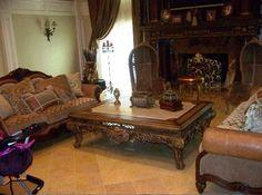 Inside Teresa Giudice House | Teresa Giudice's Pair of Shell Leaf Carved Crest Leather & Fabric ...